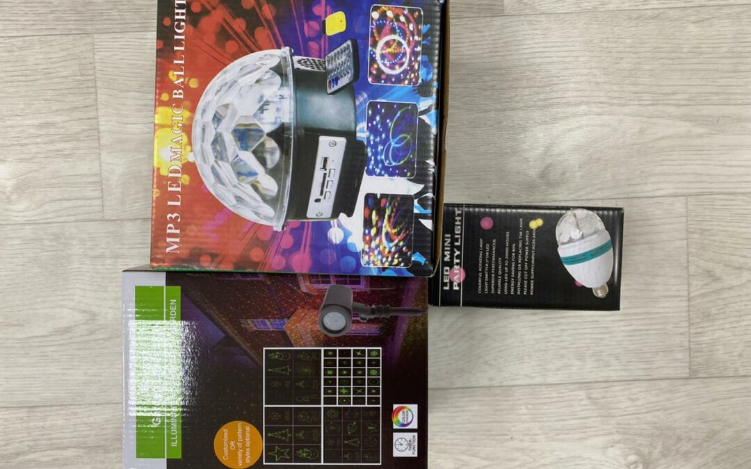Товары к новому году – шары, лампочки, лазеры